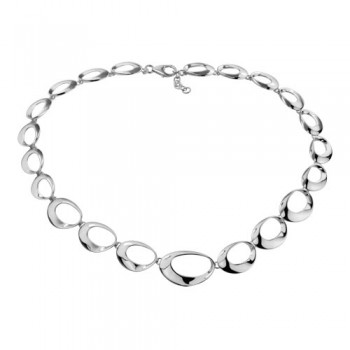 Sterling Silver Contemporary Ovals Necklace